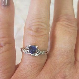 10K White Gold Spinel Diamond Ring